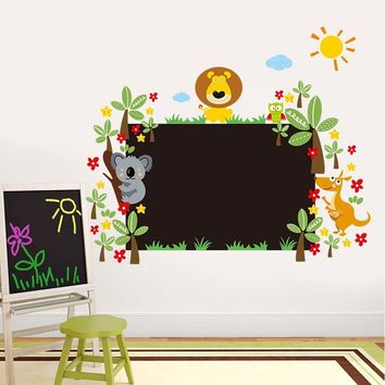 study with lovely animals chalkboard stickers class room decor kids gift 042l. home decals nursery cartoon mural art poster 5.0