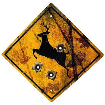 Deer Crossing Hunting Metal Tin Sign with Bullet Holes - Outdoor or Wall Decor