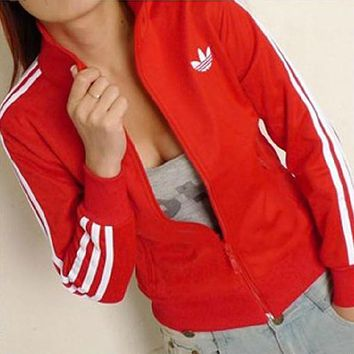 Adidas Women Gym Sport Casual Cardigan Jacket Coat Windbreaker Sweatshirt