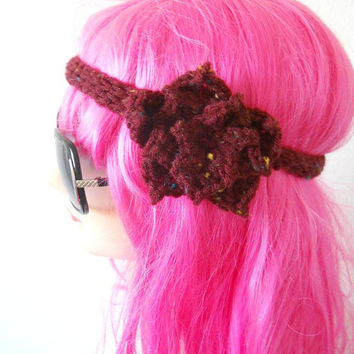 burgundy lotus flower Headband