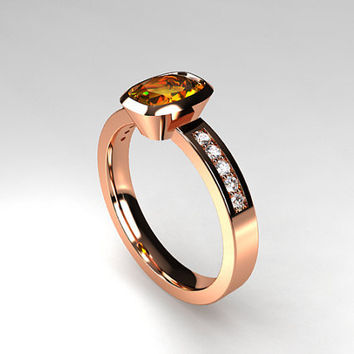 Cushion cut 1.02ct Imperial topaz engagement ring, diamond ring, bezel engagement, unique, golden topaz, yellow, gold