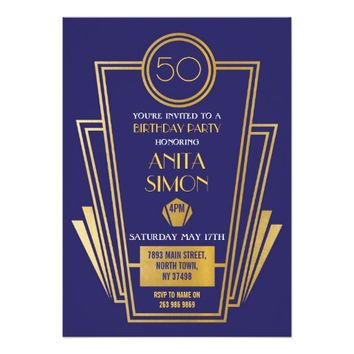 1920s Art Deco Birthday Party Invite Gatsby Gold
