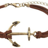5 Pieces of Brown with Brushed Gold Ship Anchor Charm with an Adjustable String Bracelet