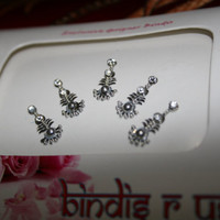 Bindi Body Art Jewellry Sticker in SILVER Tone Dance Parties Wedding Ethnic Collection.