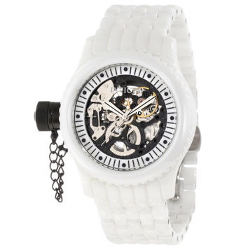 Invicta 1900 Women's Russian Diver Lefty Black Skeleton Dial White Ceramic Mechanical Watch