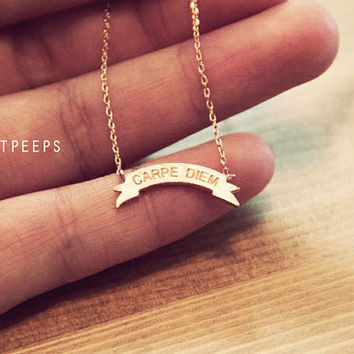 Gold Plated Tiny Ribbon Carpe Diem Necklace