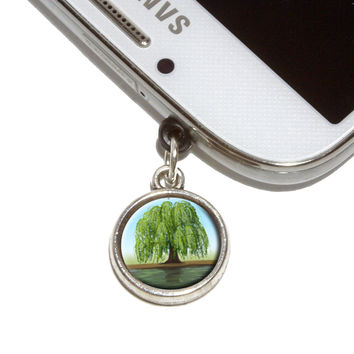 Old Weeping Willow Tree Mobile Phone Silver Charm