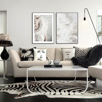 White Feather Dream Abstract Girl Canvas Painting Beach Black And White Posters And Prints Wall Art Nordic Picture Unframed