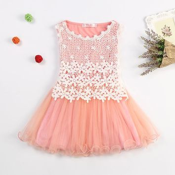 Summer New Lace Flowers Girls Dresses High Quality Child's Wear Toddler TuTu Girls Dresses Clothing Hollow Mesh Kids Dress
