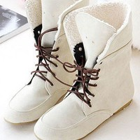 Wholesale Fashion Fuzz Lapel Strapped Mid-Length Boots Beige
