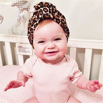 New fashion Winter Autumn Baby Hat leopard print turban kids girls cotton hat baby cap Indian Caps