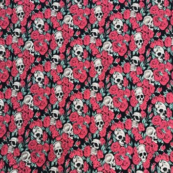 Skull Skulls Halloween Fall 50s Vintage Retro  and Rose Printed Black Cotton Fabric for Woman Summer Dresses Skirts Shirts Cushion Cover DIY-AF047 Calavera