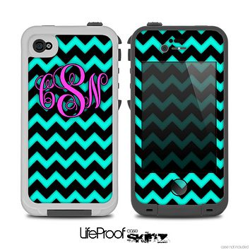 The Aqua Blue & Black Chevron Pink Monogram Skin for the iPhone 4-4s LifeProof Case