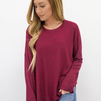 Sweet Autumn Sweater - Burgundy