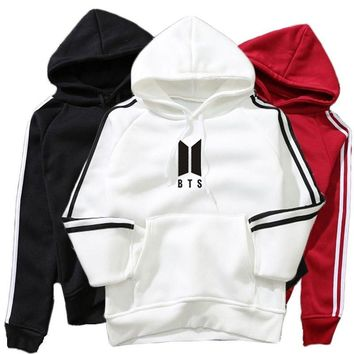 KPOP BTS Bangtan Boys Army 2018 Ulzzang Harajuku Hoodie   EXO Hooded Sweatshirts Pullover Women Fashion Striped Sleeve Patchwork Streetwear Clothing AT_89_10