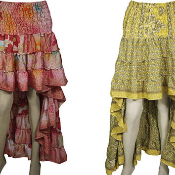 Peasant 2pc Hi Low Skirt Recycled Vintage Sari Gypsy Fashion Long Ruffle Flirty Flare Summer Skirts S/M