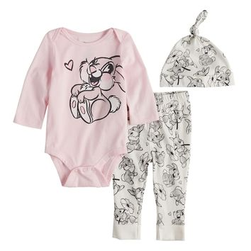 Disney's Bambi Baby Girl Thumper Graphic Bodysuit, Pants & Hat Set by Jumping Beans®