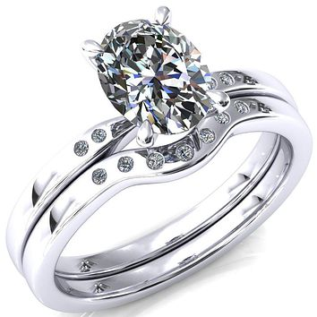 Maise Oval Moissanite 4 Prong Diamond Accent Engagement Ring