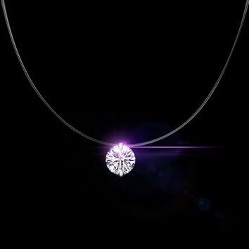 QCOOLJLY Silver color Dazzling Zircon Necklace And Invisible Transparent Fishing Line Simple Pendant Necklace  Jewelry