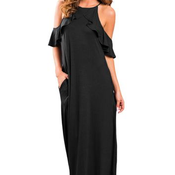 2017 New Arrival Summer Women's Sexy Black Pink Wine Navy Blue Ruffle Sleeve Cold Shoulder Maxi Dress LGY61590