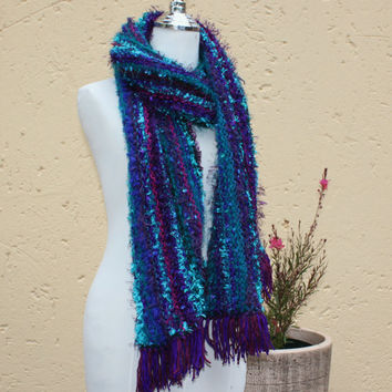 Fall scarf , Winter shawl , Extra long blue scarf , Warm soft wool scarf , Hand knit scarf , Shoulder wrap , Out of Africa SCAWL- RICH