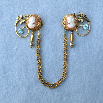Double Carved Shell Cameo Gold Filled Chatelaine with Blue Stones Vintag e