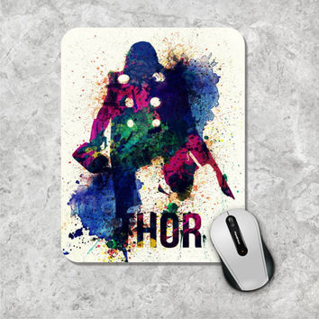 Thor Mousepad, Watercolor Mouse Pad, Marvel Comic Mouse Mat, Superhero, The Avengers, Wooden, Personalized Computer Accessories, Custom