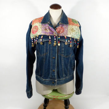 Denim Jean Jacket Vintage 1990s Multicolor Passports Hippie Women's