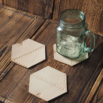 Set of 3 Leather Coaster #Natural Nude