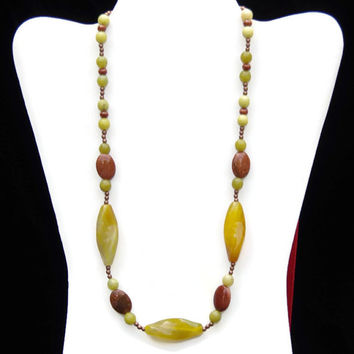 Long Chunky Avocado Green Statement Necklace, Semiprecious Lemon Jade Goldsone