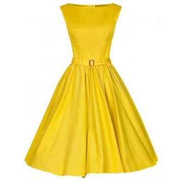 Woman Vintage Solid Color Big Peplum Boat Neck Dress   yellow