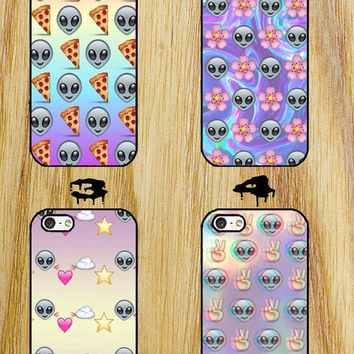 Psychedelic Alien Emoji iPhone 4/4S/5/5S/5C/6 Samsung Galaxy S3/S4/S5 custom case