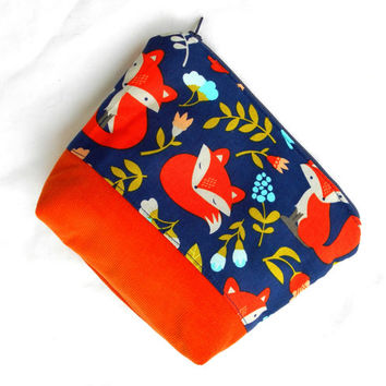 Orange Fox Makeup Accessory Bag - Fox Make Up Accessories Bag Pouch Clutch
