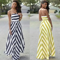 Floor Length Strapless Dress  Casual Wave stripes slim Sexy