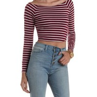 Striped Boat Neck Long Sleeve Crop Top
