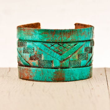 Turquoise Jewelry Southwest Bracelets Tooled Leather by rainwheel