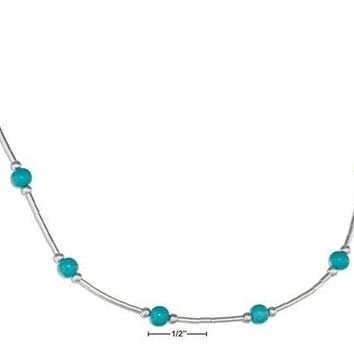 "Sterling Silver 16"" Liquid Silver And Scattered Simulated Turquoise Bead Necklace"