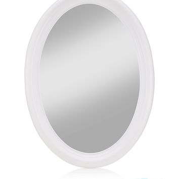"MONOINSIDE Small Hanging Oval Wall Mirror, Framed Decorative Oval Wall Mirror for Makeup Vanity Table, Plastic, 14"" x 10"" Inches, White"