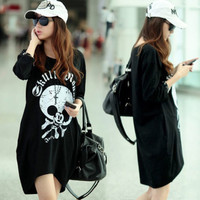 Personalized Loose Skull Mouse Letters Womens T-shirt Tops Tee Asymmetrical Hem