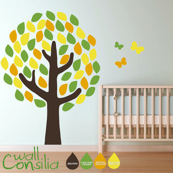 Nursery Tree with Butterflies  Kids Tree  Tree by WallConsilia