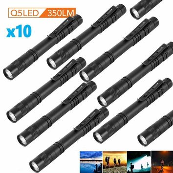10PC Cree XPE-R3 LED Flashlight Clip Mini Light Penlight Portable Pen Torch Lamp