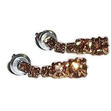 "Vintage Dark Amber Crystal Gold Tone Post Back 1/2"" Earrings"