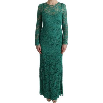 Dolce & Gabbana Green Floral Ricamo Sheath Long Dress