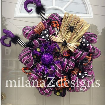 Deco Mesh Wreath, Halloween Witch, Purple and Black Fall Wreath, Crashing Witch Wreath, Autumn Door Wreath, Broomstick Legs and Spider Decor