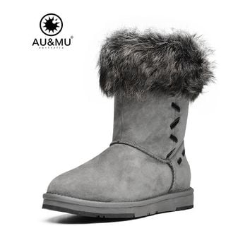 2017 AUMU Australia Fur Flat Exposed Wool Trims Slip-on Thick Platform Round Toe Rubber Soles Winter Snow Boots UG N366