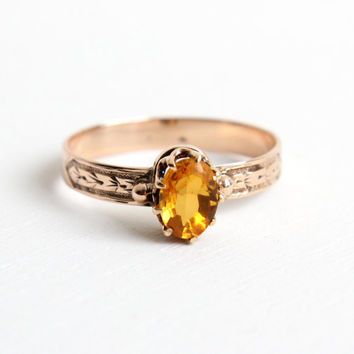 Antique Victorian 9k Rose Gold Citrine Ring - 1800s Size 7 Orange Yellow Gemstone Vintage Fine Jewelry