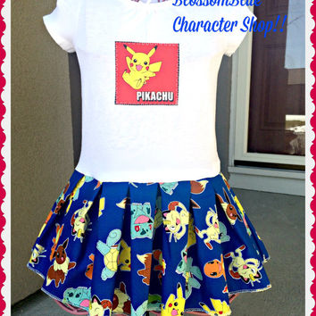 girls Pokemon dress Pikachu charizard squirtle meowth size 3T 4T 5T 6/6x 7/8 10/12 and 14/16