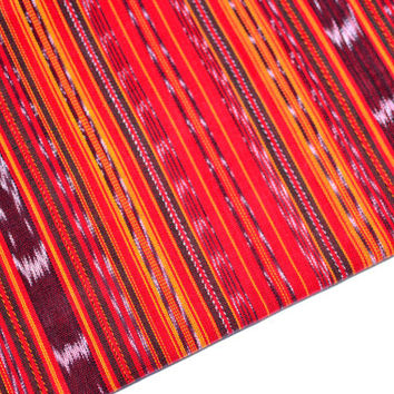Red Stripes Ikat Handmade Fabric (#41) from Guatemala - 100% Cotton - Sold by yard