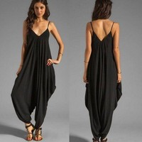US Women's Ladies V-neck All In One Summer Beach Harem Jumpsuit Playsuit Outfits