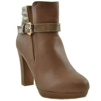 Womens Ankle Boots Patent Leather Buckle Accent Zipper Closure Booties Taupe